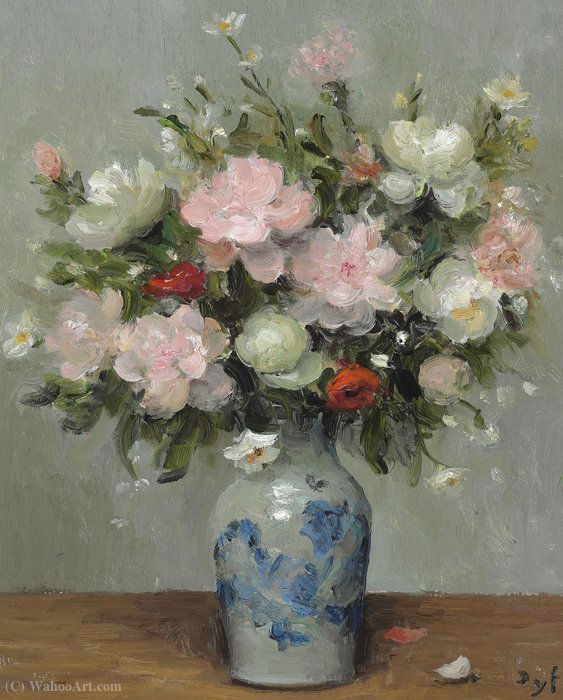 Peonies and Anemones, (1981) by Marcel Dyf (1899-1985, France)