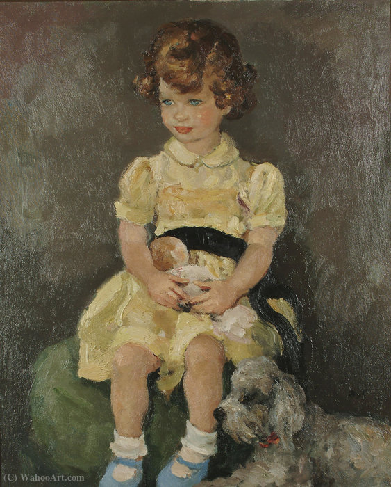 Portrait of a Seated Girl with a Dog, (1965) by Marcel Dyf (1899-1985, France)
