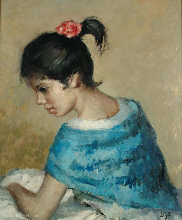 Portrait of a Young Girl in a Blue Shawl by Marcel Dyf (1899-1985, France)