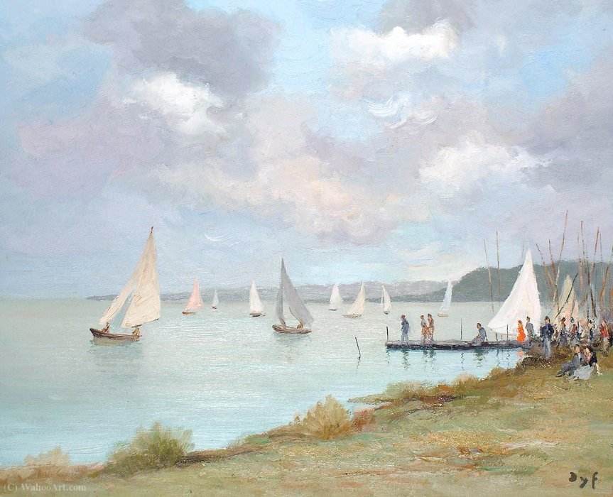 Regatta on the Etang of San Quentin by Marcel Dyf (1899-1985, France)