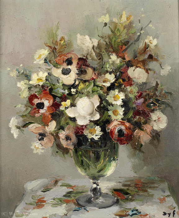 Roses and Anemones, (1950) by Marcel Dyf (1899-1985, France)