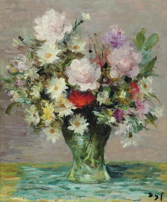 Roses and Papavers, (1970) by Marcel Dyf (1899-1985, France)
