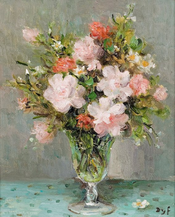 Roses in a Glass, (1983) by Marcel Dyf (1899-1985, France)