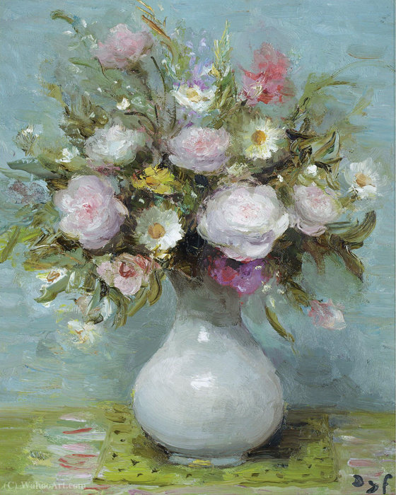 Roses in Opaline Vase by Marcel Dyf (1899-1985, France)
