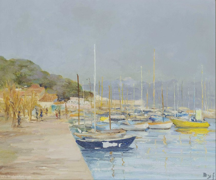Sailing Boats in Provence at the Gulf of Juan, (1973) by Marcel Dyf (1899-1985, France)