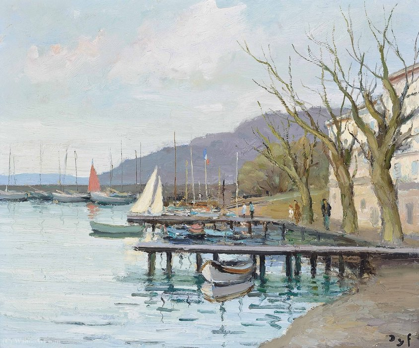 Sailing Boats in Provence at the Gulf of Juan, (1979) by Marcel Dyf (1899-1985, France)