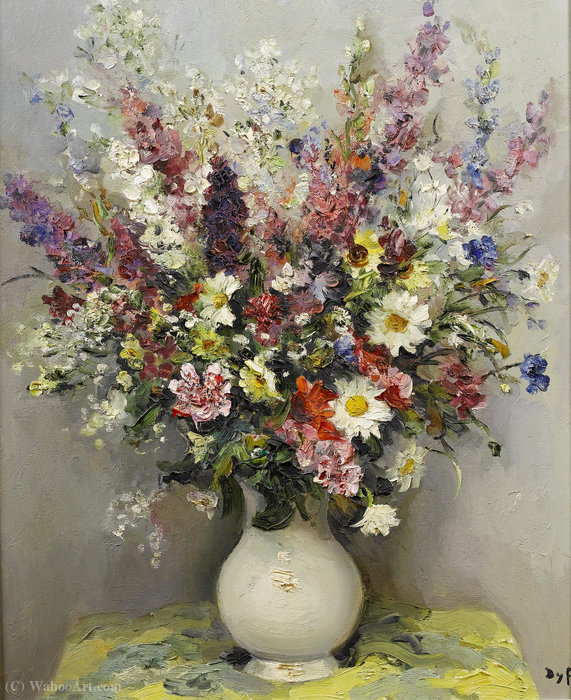 Summer Flowers in a Translucent Vase by Marcel Dyf (1899-1985, France)