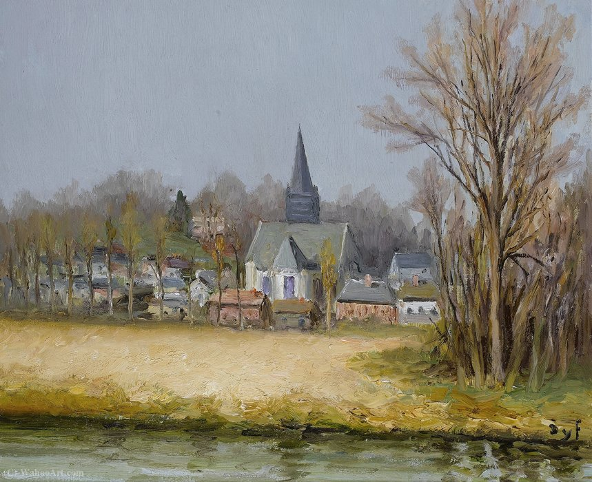 The Belfry over the Fleuve by Marcel Dyf (1899-1985, France)