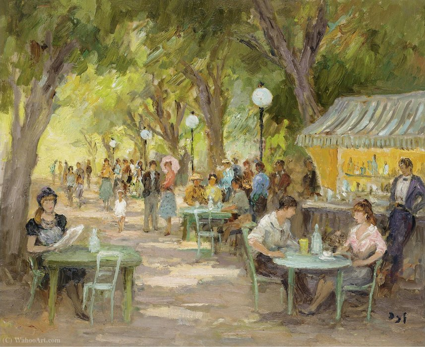 The Cafe at Champs Elysees by Marcel Dyf (1899-1985, France)