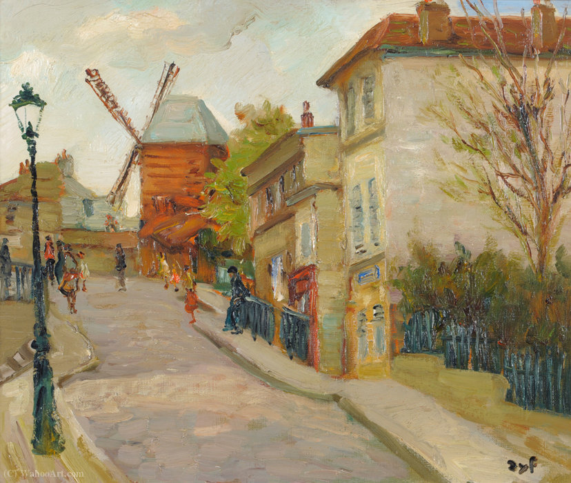 The Church at Monmartre, Paris by Marcel Dyf (1899-1985, France)