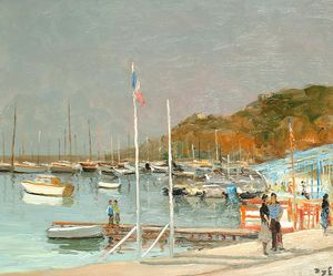 Marcel Dyf - The Pier at the Gulf of Juan