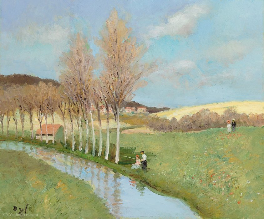 The River of Beynes (Ile-de-France), (1982) by Marcel Dyf (1899-1985, France) | Oil Painting | ArtsDot.com