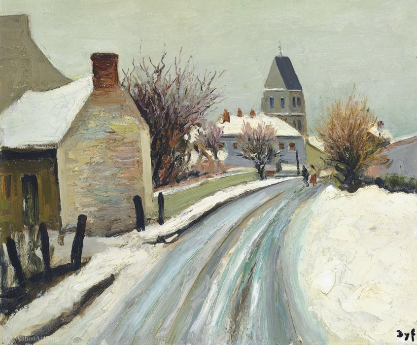 The Street of Perdreau Bois at Arcy in Winter, (1958) by Marcel Dyf (1899-1985, France)