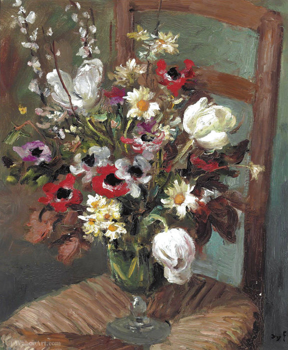 Tulips and Anemones on a Chair, (1950) by Marcel Dyf (1899-1985, France) | Oil Painting | ArtsDot.com