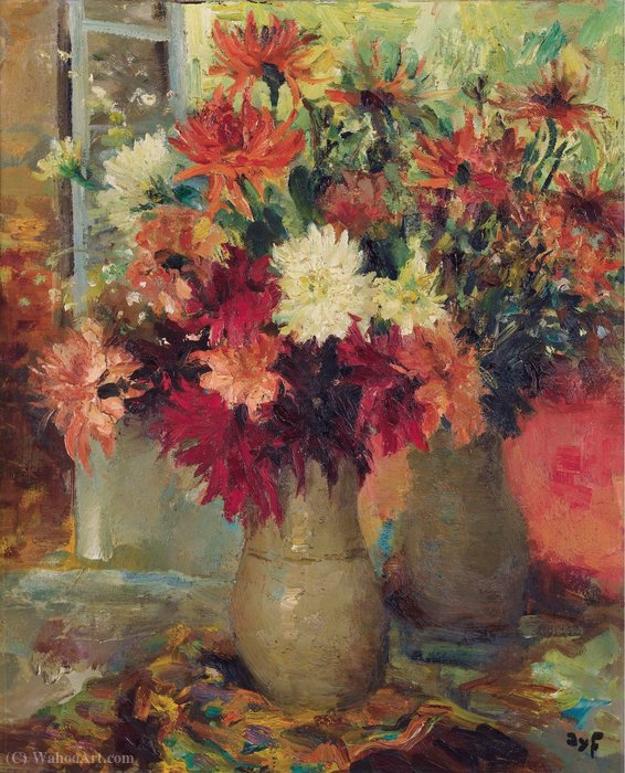 Vase of Dahlias by Marcel Dyf (1899-1985, France)