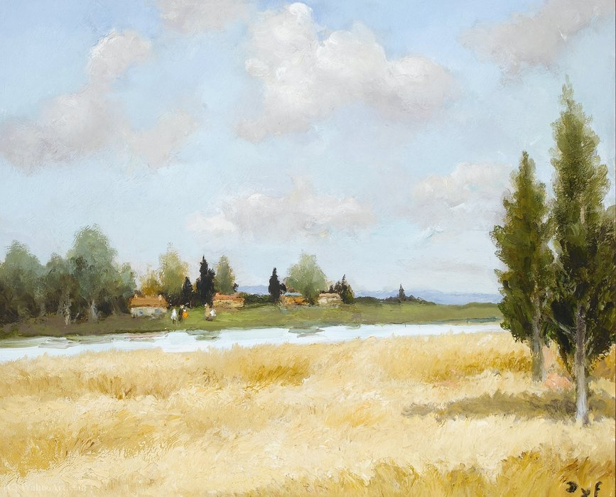 Wheat and River by Marcel Dyf (1899-1985, France)