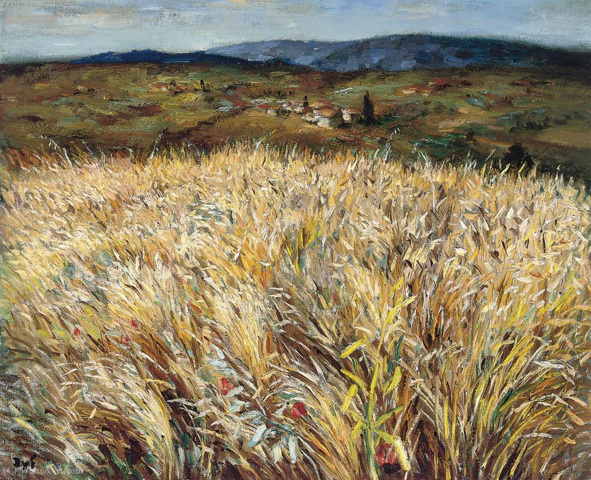 Wheat Field and Village in Provence by Marcel Dyf (1899-1985, France)