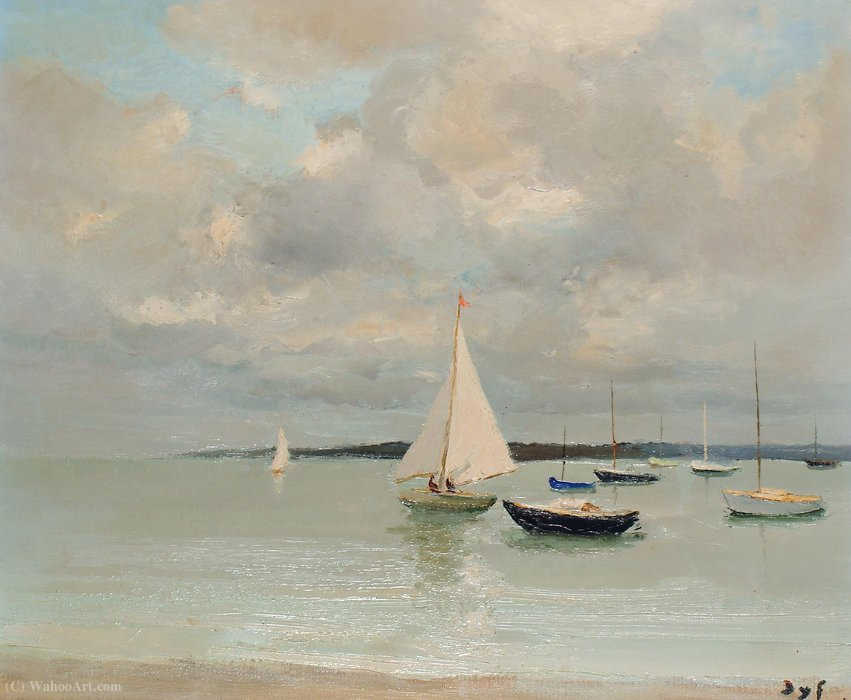 White sailer by Marcel Dyf (1899-1985, France) | Museum Quality Reproductions | ArtsDot.com