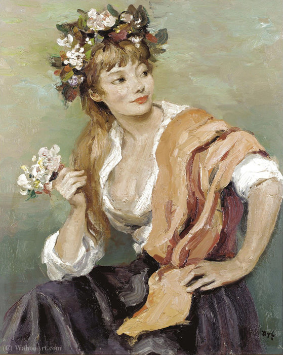 Woman with Flowers by Marcel Dyf (1899-1985, France)