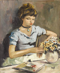 Marcel Dyf - Young Girl by a Table with Flowers
