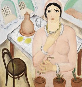 Reuven Rubin - Young Woman in a Pink Dre..