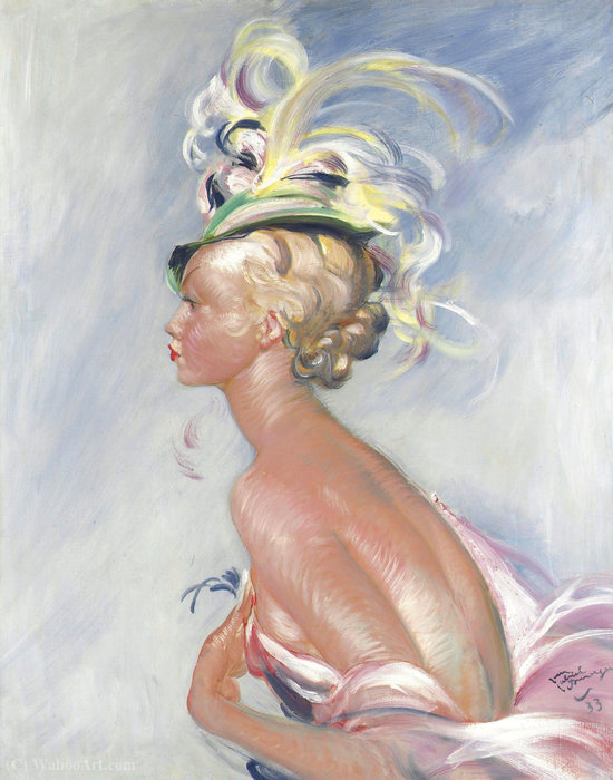 Fashionable Woman in Hat with Feathers, (1933s) by Jean-Gabriel Domergue (1889-1962) |  | ArtsDot.com