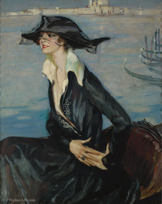 Woman in Black in Venice, (1919) by Jean-Gabriel Domergue (1889-1962) |  | ArtsDot.com