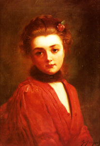 Gustave Jacquet - Portrait of a Girl in a R..