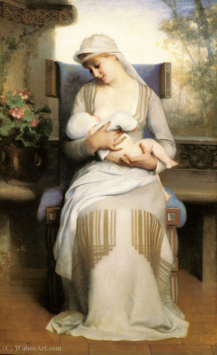 Young mother feeding her baby by Emile Levy (1888-1890)