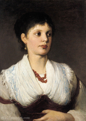 A portrait of a woman in native costume by Gabriel Cornelius Ritter Von Max | ArtsDot.com