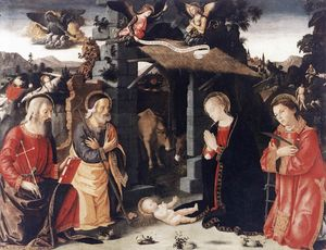 Antoniazzo Romano - Nativity with Sts Lawrence and..