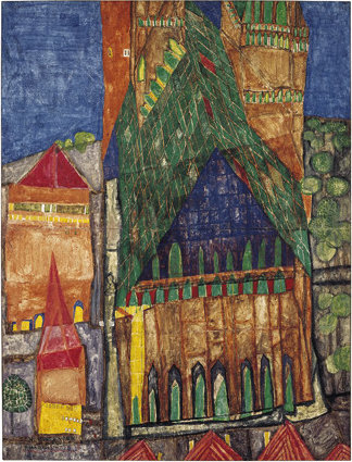 Cathedral i by Friedensreich Hundertwasser