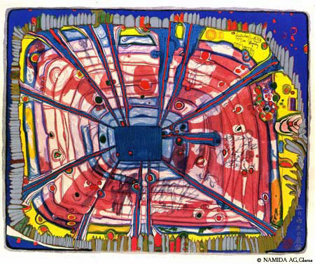 A Rain of Blood Is Falling Into the Garden by Friedensreich Hundertwasser