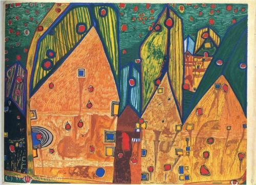 A Houses in Rain of Blood by Friedensreich Hundertwasser