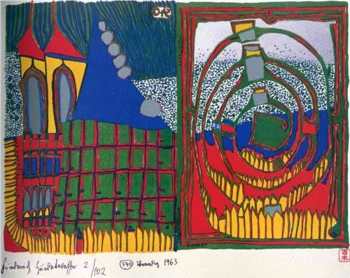 House and Spiral in the Rain by Friedensreich Hundertwasser