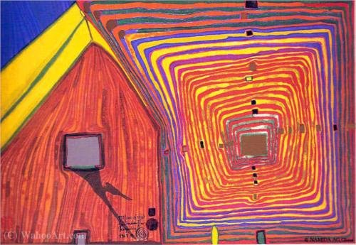 A Spiralsun and Moonhouse - The Neighbours by Friedensreich Hundertwasser