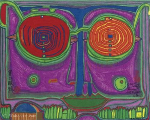 A Spectacles in the Small Face by Friedensreich Hundertwasser (1928-2000, Austria)