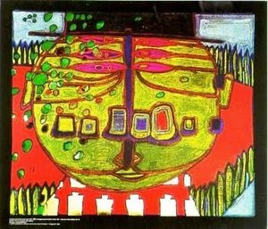Friedensreich Hundertwasser - Three-Eyed Green Buddha with H..