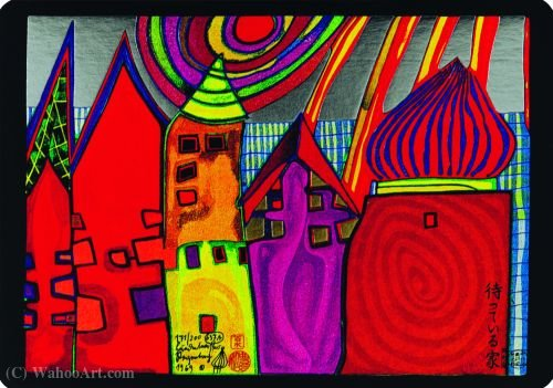 A Waiting Houses by Friedensreich Hundertwasser (1928-2000, Austria)