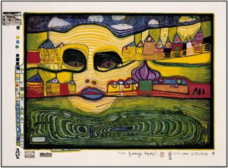 A Irinaland Over the Balkans by Friedensreich Hundertwasser (1928-2000, Austria)