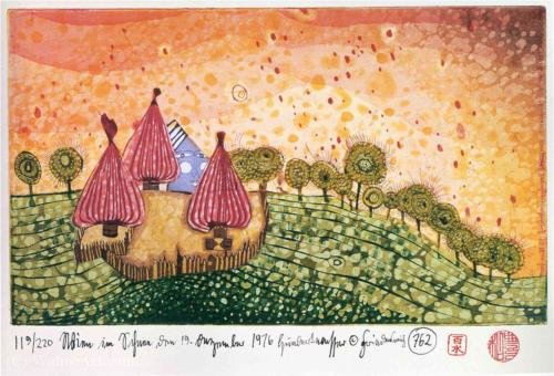 Hide Under the Meadow It Begins to Rain by Friedensreich Hundertwasser