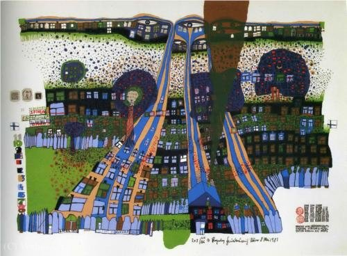 Let us pray manitou wins by Friedensreich Hundertwasser
