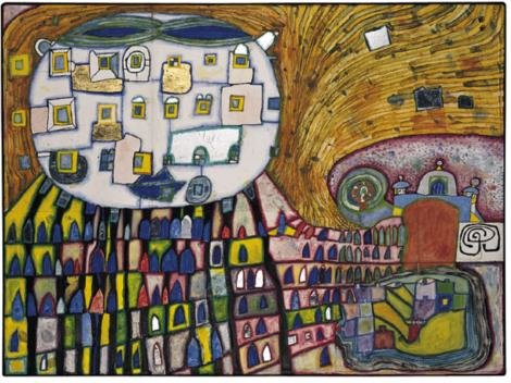 Domestic Cat - The Cat of Atlantis by Friedensreich Hundertwasser