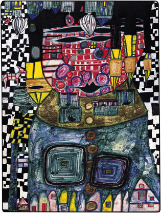 Antipode king by Friedensreich Hundertwasser  (buy Fine Art Art reproduction Friedensreich Hundertwasser)
