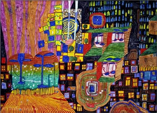 City view by Friedensreich Hundertwasser