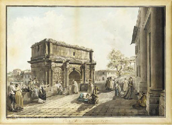 Order Art Reproductions | The arch of septimius severus seen from the terrace of san giuseppe dei falegnami, rome by Abraham-Louis-Rodolphe Ducros (1748-1810, Switzerland) | ArtsDot.com
