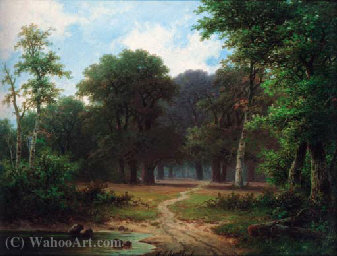 A path through a woodland by Hendrik Pieter Koekkoek