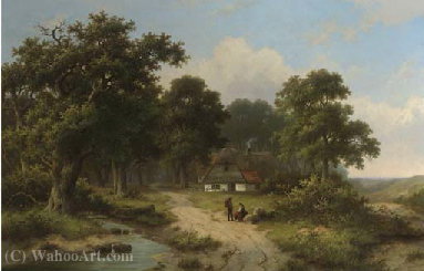 Peasants resting by a stream at the edge of a forest by Hendrik Pieter Koekkoek