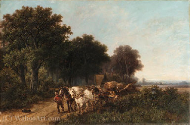 Pulling the wagon by Hendrik Pieter Koekkoek