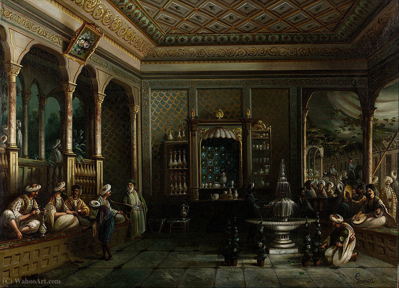 A Coffee House in Tophane by Thomas Allom (1804-1872, United Kingdom) | ArtsDot.com